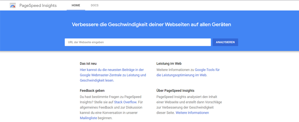 Pagespeed Anleitung