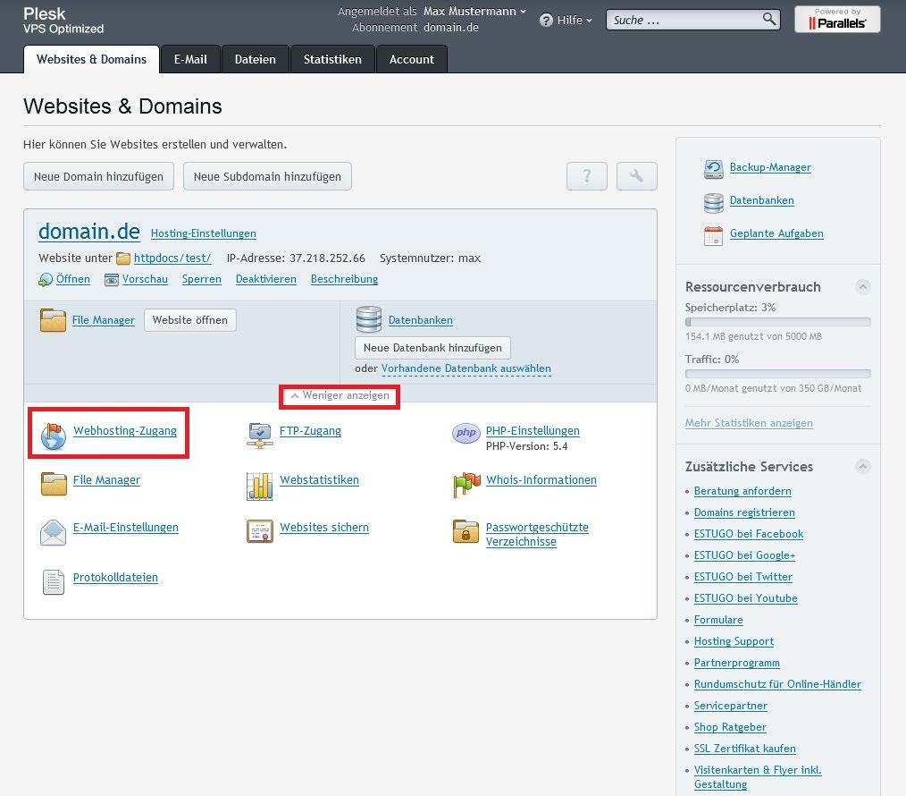 Webhosting-Zugang