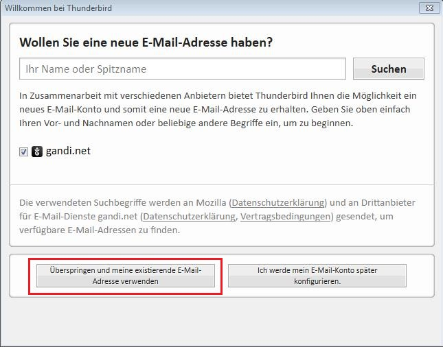 Thunderbird für Windows › Shop Hosting von ESTUGO